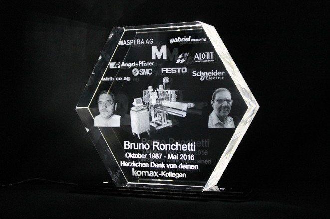 3D Lasergravur Sales Award Hexagon