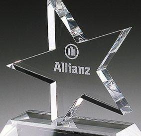 3D-Laser Kristallglas Euro Star Award Lasergravur