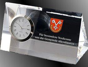 3D-Laser Sonderanfertigung Kristallglas-Uhr
