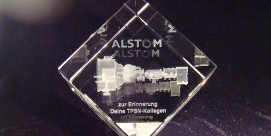 3D-Laser ALSTOM - 3D-Modell in Glas gelasert