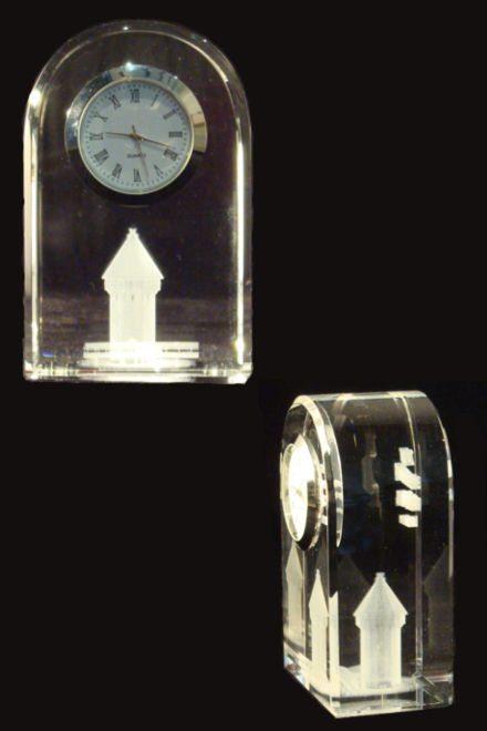 3D Laser Souvenirs aus Kristallglas Uhr Kapellbruecke Wasserturm