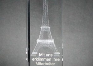 Innenglasgravur Sales Award Lasergravur