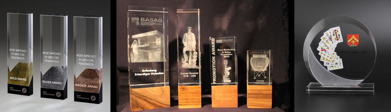 Auszeichnungen, Awards, Ehrungspreise, Glaspokale, Trophaeen