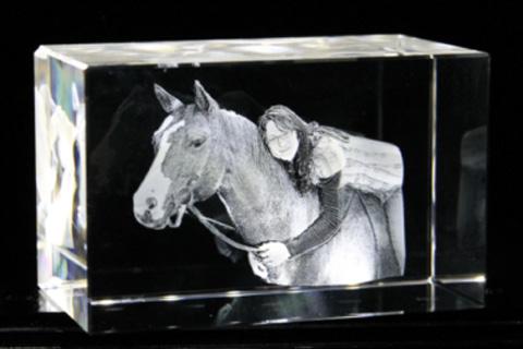 Foto-im-Glas, Geschenkidee, Pferd, 3d-Laser