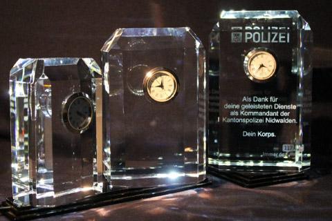 Mitarbeitergeschenk, Uhr, Polizei, 3d-Laser
